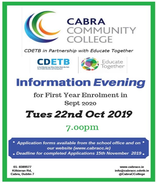 First Year 2020 Information Evening Tues 22nd Oct
