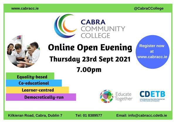 Online Open Evening Thurs 23rd Sept 7.00pm
